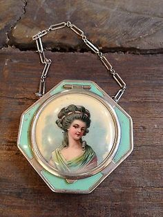 Vintage Powder Compact Victorian Style with Chain One of A Kind