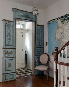 Love this 18th- century French doorway, artwork is by Alejandro Garmendia ~ Olatz Schnabe Soho Home, The Art of the Muse, article NYTimes