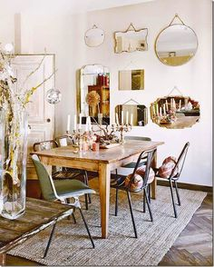 Dining rooms don't have to be formal or stuffy. We're all about a boho chic dining space, too! Check out these 40 dining rooms that master boho interior design. For more dining room design ideas, go to Domino! Dining Room Inspiration, Home Decor Inspiration, Decor Ideas, Decorating Ideas, Mirror Inspiration, Room Ideas, Interior Decorating, Mismatched Dining Chairs, Sweet Home