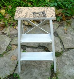 Vintage Ladder Painted Wood Step Ladder by CasaKarmaDecor on Etsy, $40.00