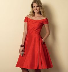 I think this would look cool with the contrast bands in lace. Misses'/Misses' Petite Dress B6129