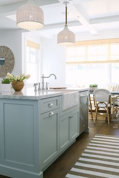 "Inspiring White Kitchen with Light Blue Island - ""Kitchen Lighting"" (Taza White Pendants by Palecek)"