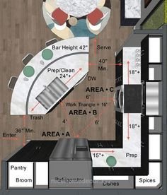 Superb This cutaway design plan illustrates arrangements and dimensions for a modest-size kitchen. Note that the preparation area is split between the kitchen island … #KitchenDesign ..