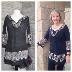 Julie looks so pretty in our black tunic with lace detail! Thanks for sharing! This top is still available at www.poshclicks.com $48.00