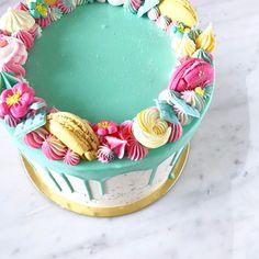 #Macaron #tropical #drip #cake