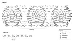 Material: 3 Novelos de Cléa 5 – Cor 4448; Agulha de Crochê nº 1,5mm. Abreviações utilizadas: carr: carreira corr: corrente pbxíssimo: ponto baixíssimo pb: ponto baixo pa: ponto alto Execução: Círculos (faça 9) Gráfico 1 1ª carr: 10 corr, junte com pbxíssimo no 1º ponto, 3 corr para