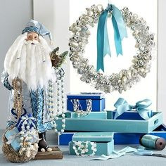 blue christmas decorations ideas - Google Search