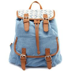 Lace Trim Canvas Backpack ($16) ❤ liked on Polyvore featuring bags, backpacks, accessories, bolsas, purses, chambray, buckle backpack, canvas bag, canvas knapsack and snap bags