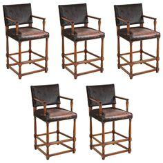Set of Five Large Wooden Bar Stools in Black Hide Leather