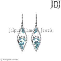 Blue Topaz Baguettes Pave White Diamond Silver Marquoise Design Dangle Earrings #earrings #gemstone #baguettes #diamondjewelry #pavediamond #beautiful #fashion #handmade #dropdangle #flower