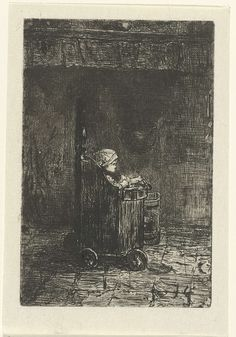 Jozef Israëls | Kind in de kinderstoel, Jozef Israëls, 1835 - 1911 | Een kind in een houten kinderstoel op wielen bij de schoorsteen.