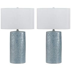Bravo Metallic Blue Ceramic Table Lamp Set of 2 - #6C395 | LampsPlus.com