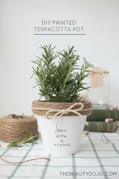 Herb planter. Diy Painted Terracotta pot. This cute rustic planter makes the perfect home for your herbs. Make this using a terracotta pot, twine, and letter stamps to add a little bit of greenery to your home. I chose to put rosemary inside my pot.