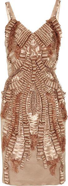 ALBERTA FERRETTI   Ribbon-embellished Hammered-silk Dress   dressmesweetiedarling