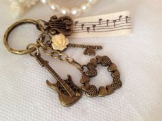 Antique Bronze Guitar Charm Keychain with A Heart by PrettySang, $10.90