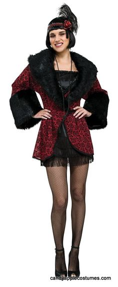 1f1f4ff1ffc97 Deluxe Adult Red Flapper Coat Costume - 20 s Costumes - Candy Apple Costumes  90s Halloween Costumes