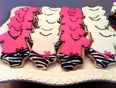 12 Zebra & pink baby shower onesie cookies by BakeMyDayCookies, $36.00