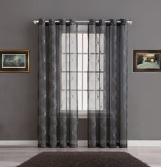 Warm Home Designs Sheer Charcoal Curtain Panels with Silver Embroidery