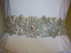 $190   Bridal Sash, Crystal Beaded Sash/Belt -Becky Couture Wedding Gown Sash/Belt Swarovski Crystals and Silver Glass Beads. $190.00, via Etsy.