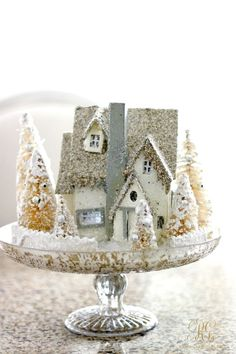 Vintage Ideas vintage christmas home tour glitter christmas house on cake stand - Christmas Home Tour - Holiday Home Showcase 2016 - featuring 9 homes decorated for Christmas - Elegant White Christmas decor Vintage Christmas Crafts, Farmhouse Christmas Decor, Noel Christmas, Country Christmas, Christmas Projects, Winter Christmas, Christmas Ornaments, Christmas Ideas, Christmas Glitter