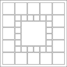 Pattern  - Have a lot of photographs from an event or a busy month? This layout is perfect! Print pictures 1x1 or Thumbnail size to get 1 in. photographs to go around the Square Center. Click on this image to see a page example.