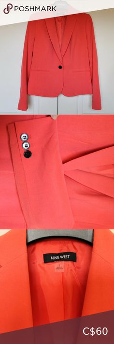 Coral Women's Blazer size 2 Beautiful coral coloured blazer (colour is slightly less dark than pictured) Lightly worn Nine West Jackets & Coats Blazers & Suit Jackets Sleeveless Blazer, Cropped Blazer, Black Suit Jacket, Black Suits, Floral Blazer, Pleated Midi Skirt, Light Jacket, Suit Jackets, Colored Blazer