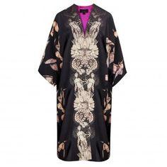 Egret Cameo Long Silk Kimono by Louise Coleman