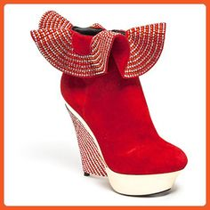 4a463562d Lady Couture Wedge Rhinestone Ruffle Top Bootie Suede 41 Red - Boots for  women ( Amazon Partner-Link)