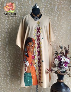 Excited to share the latest addition to my shop: Hand Painted Beige Cotton Caftan Kaftan / Tun Fabric Colour Painting, Fabric Painting On Clothes, Dress Painting, Painted Clothes, Saree Painting Designs, Fabric Paint Designs, Fabric Paint Shirt, Paint Shirts, Hand Painted Dress
