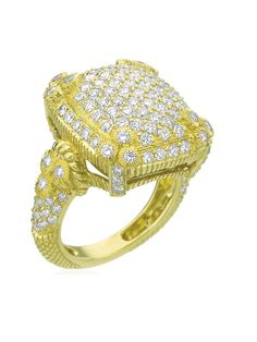 Judith Ripka 18KT Yellow Gold Olivia Collection Pave Diamond Ring with Bezel Set Diamond Accents