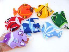 Felt Garland' Rainbow Tropical Fish Colorful hang by SadowaArt