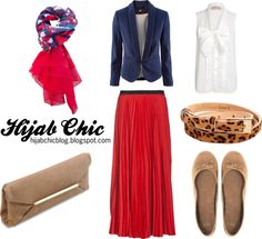 """Hijab style inspiration: red skirt"" by vanillagurl88 on Polyvore"