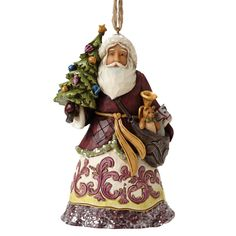 4053699 Victorian Santa With Tree (Hanging ornament)- Jim Shore's enchanting Victorian Collection captures the warm decorative style of a bygone era with rich colours and a subtle sugary finish #Santa #Festive #JimShore