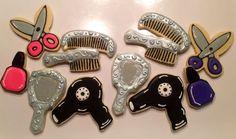 mirror sugar cookies | Hair Dresser Platter, Mirror, Scissors, Hair Dryer, Nail POlish, Brush ...