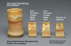 I recently tested 6 new glazes plus two versions of Strontium Crystal Magic.