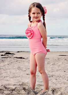 Coral Pink Halter Swimsuit for toddler and girl- READY TO SHIP, via Etsy.