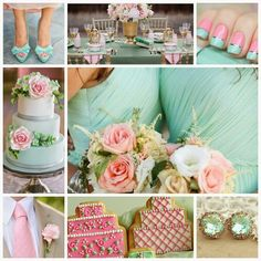 spring wedding with teal / sea green