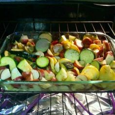 Cut 1 large Zucchini, 2 Yellow Squash, 6 Red Potatoes & 1 Onion...Place in glass pan for baking dish drizzle with extra virgin olive oil garlic & herb seasoning, seasoned salt and bake on 350 for 45 minutes or until tops are golden brown.