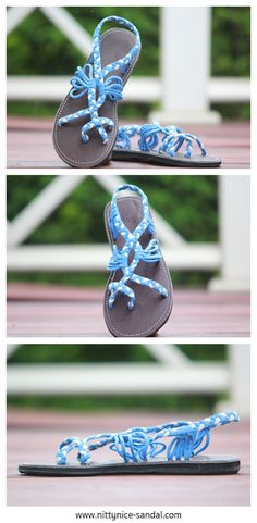 Braided paracord sandals in bright blue and white color.