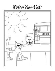 Pete the Cat Coloring Pages Teaching Activities, Therapy Activities, Activities For Kids, Sequencing Activities, School Coloring Pages, Cat Coloring Page, Beginning Of School, First Day Of School, Indoor Recess