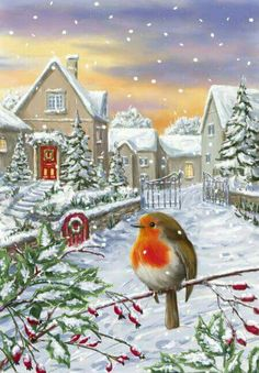 Marcello Corti, Representing leading artists who produce children's and decorative work to commission or license. Christmas Artwork, Christmas Bird, Christmas Scenes, Christmas Paintings, Vintage Christmas Cards, Christmas Pictures, Winter Christmas, Christmas Crafts, Illustration Noel