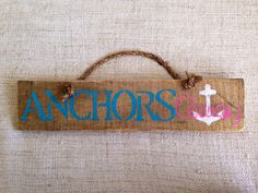 Anchors Away reclaimed pallet wood sign with by SeaCityDesigns