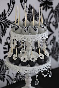 Glamorous Black and Silver and white cake pops by Divine Sweets and Cakes   Flickr - Photo Sharing!