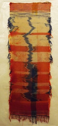 stephenweaves: Tangerine - 2013 Linen warp and wool weft with Ikat Dye process