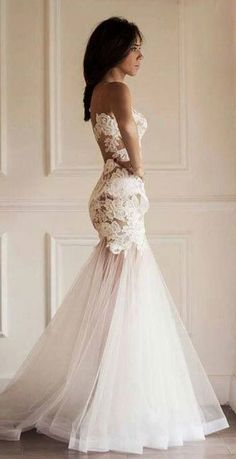 I like the lace meets tule look ... and the tan color so visible under the lace