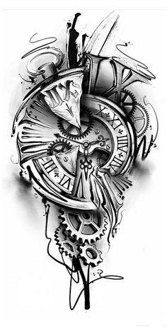 Card Tattoo Designs, Clock Tattoo Design, Tattoo Designs Men, Thigh Sleeve Tattoo, Chest Tattoo, Cool Arm Tattoos, Best Sleeve Tattoos, Couple Tattoos, Tattoos For Guys