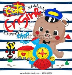 Happy teddy bear driving a train coming up on navy blue and white striped background illustration vector.