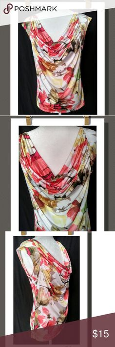 Marc Valvo Floral Top Gorgeous multi color floral print top with capped sleeves and a draped neck line.  lightweight &super flowy!  NWOT 99% Polyester 7% Spandex Carmen Marc Valvo Tops