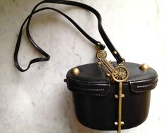 Vtg Italian FREON Leather Box Hearse Carriage Purse Steampunk Gears Gothic #FreonFirenze #CarriageBoxPurseEquestrian