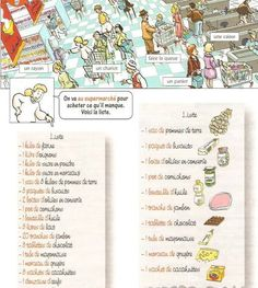 Au supermarché : Liste de course + imagier (worksheet)